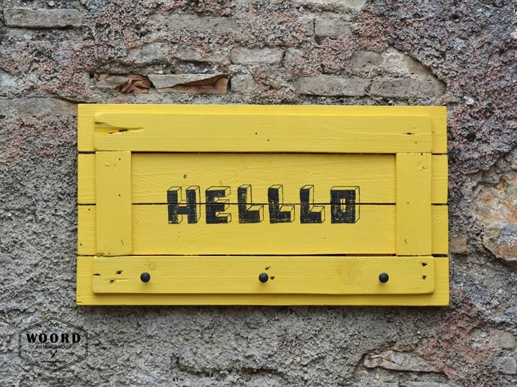 Coat rack with yellow decor Hand drawn Hello sign Reclaimed wood Storage and Organization Housewarming gift Welcome Pallet sign Wall Hangers by WOORDshop on Etsy