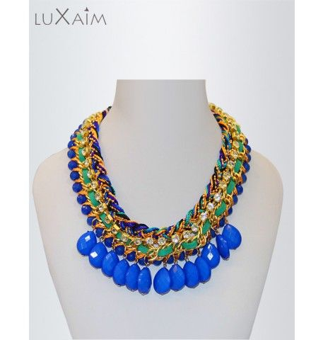 Monsoon Special Offer at Return Favors Multi Knit Blue Beads Statement Necklace.