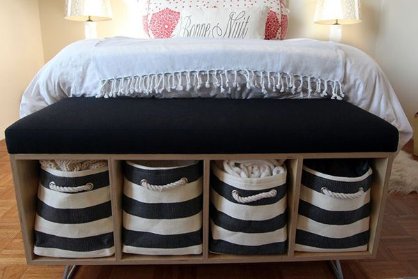 Slip in storage any place you can. You don't always have to put everything in under-bed boxes. Pretty baskets look great while hiding odds and ends, canvas totes can hold anything, bright boxes can disguise desk clutter, while jars and canisters can help save precious kitchen counter space.