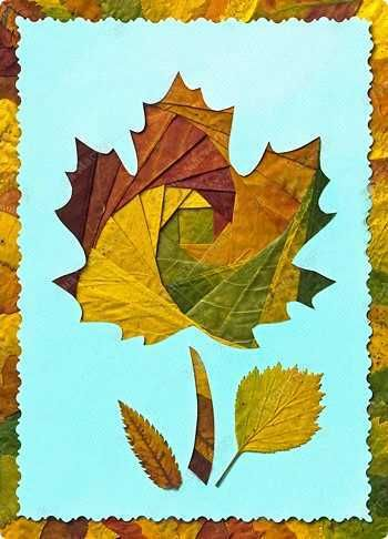 fall leaves collage for wall decoration--just one of the many creative leaf ideas!