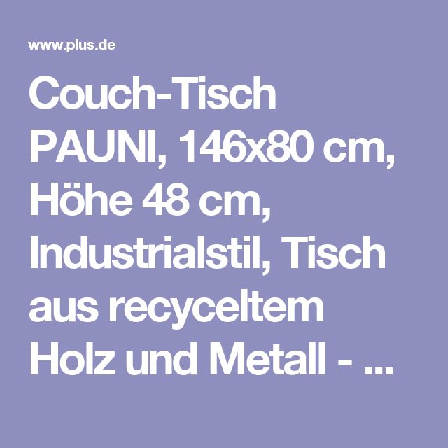 Elegant Couch Tisch PAUNI x cm H he cm Industrialstil Tisch aus