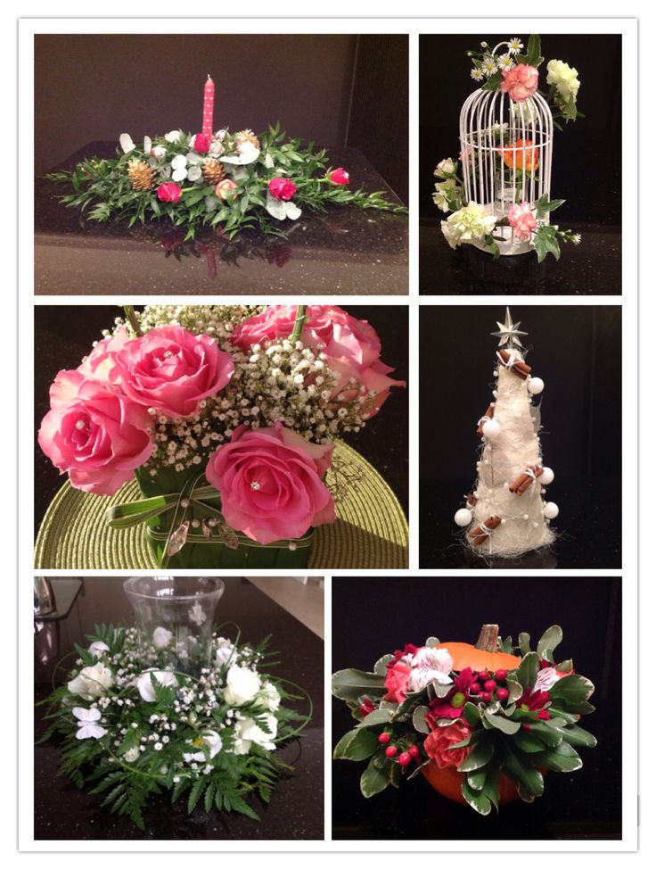 All finished flower arrangements