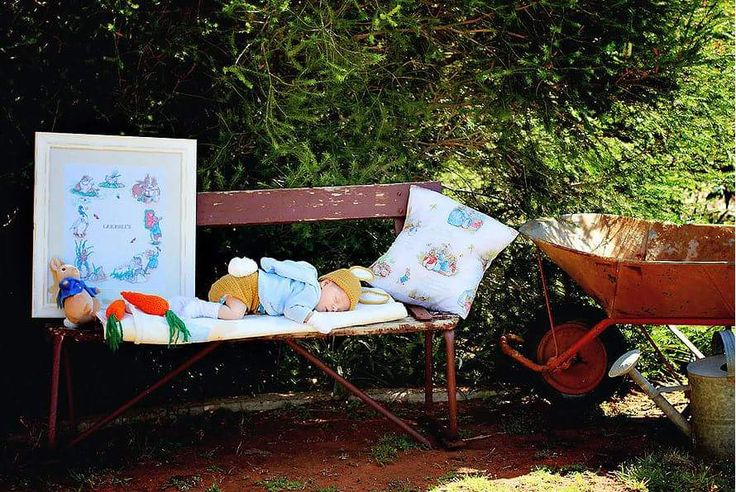 Newborn Peter Rabbit Photo Shoot. Beatrix Potter inspired Peter Rabbit Baby Photos.