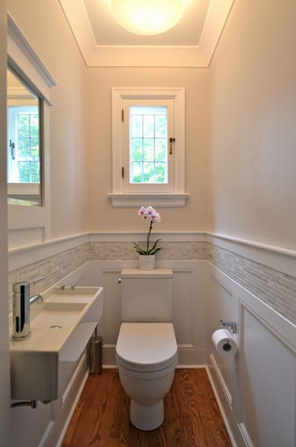 I like the paneling and tile together. This could be done. 55 Cozy Small Bathroom Ideas | Cuded