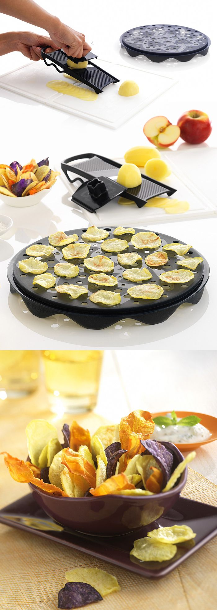 Make crunchy, fat-free chips fast! Slice vegetables and fruits thinly and quickly with the mandoline, then place them on the tray and in the microwave for a healthy, tasty snack in minutes. #product_design