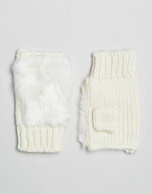 7X | Перчатки без пальцев из искусственного меха 7X