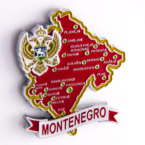 Metal Fridge Magnet: Montenegro. Map of Montenegro (Chrome Plating and Enamel)