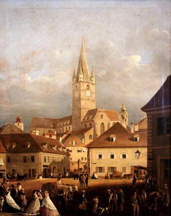 Johann Böbel - Strada Turnului şi biserica Evanghelică