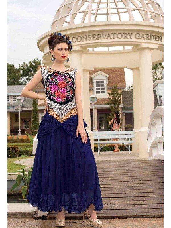 Blue Partywear Net Women Gown Price INR 4013