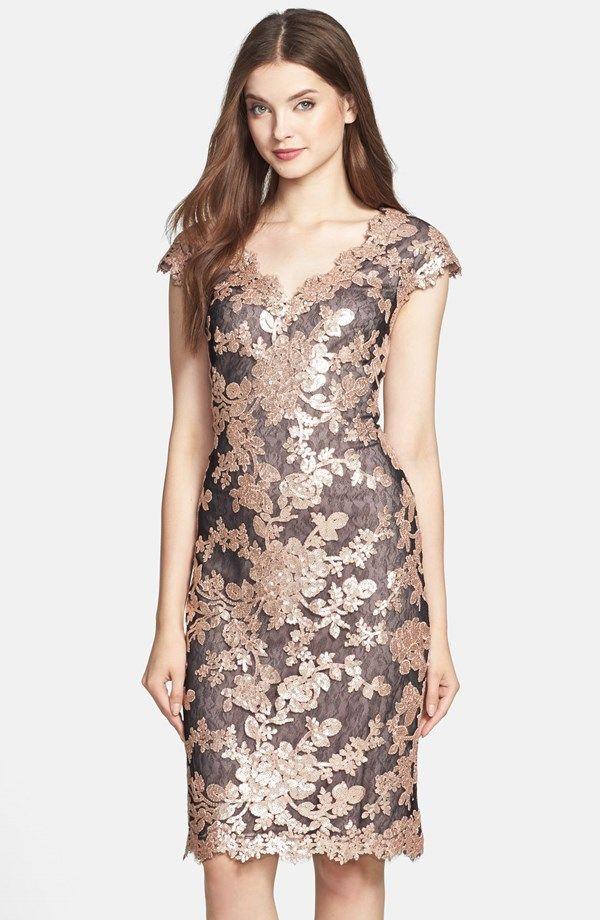 Floral Sequin Cap Sleeve Sheath Dress (Regular & Petite)