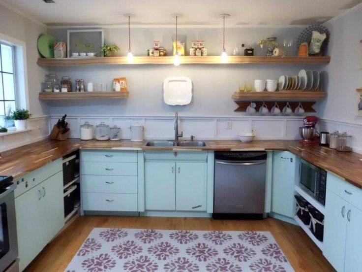 amazing Metallic Kitchen Cabinets #3: Kitchen, 1950u0027s, Metal cabinets, Refinished, Youngstown
