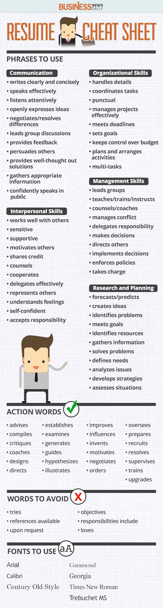 Resume Cheat Sheet in the world of business, and work life in general. Re-pinned by #Europass
