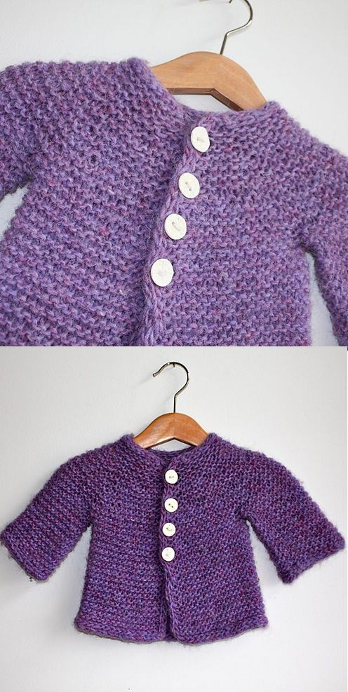 Free Knitting Pattern for a Baby and Toddles Easy Cardigan in Garter