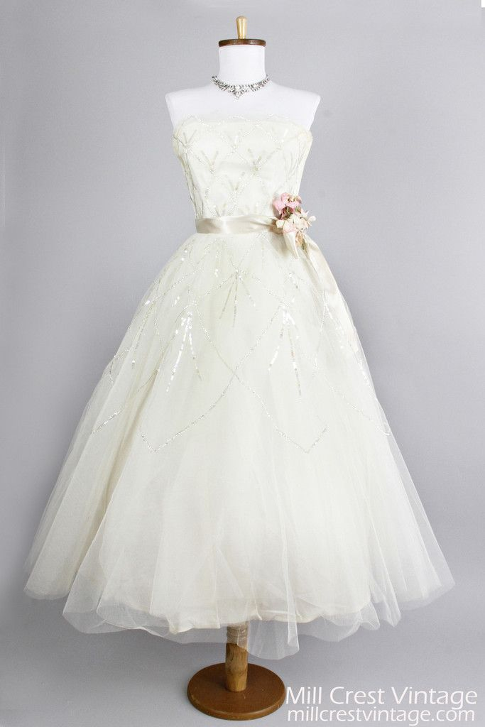 274 best tea length short wedding dresses images on for Vintage wedding dresses tea length