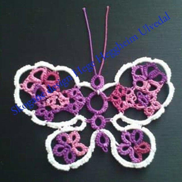 Tatted butterfly, my own pattern. Nupperelle sommerfugl, mitt eige mønster.