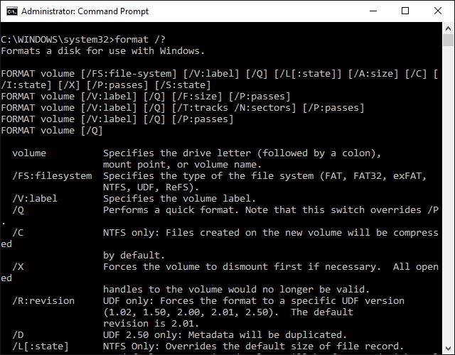 The format command is used to format a partition to a file system. The format command is available from the Command Prompt and MS-DOS.