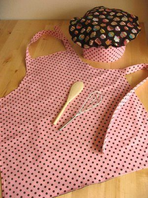 """Easy sewing project - kids chef hat and apron. I made these for my neices and also gave them """"cookies in a jar"""" to make with their mom."""