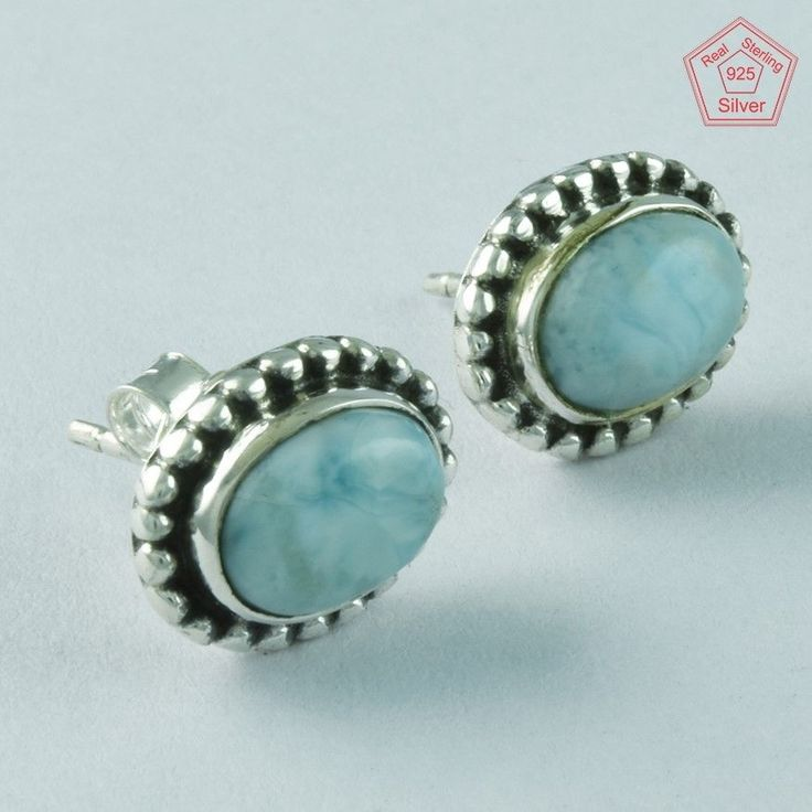 LARIMAR STONE FANCY OVAL SHAPED 925 STERLING SILVER STONE STUDS JEWELRY ST4864 #SilvexImagesIndiaPvtLtd #Stud