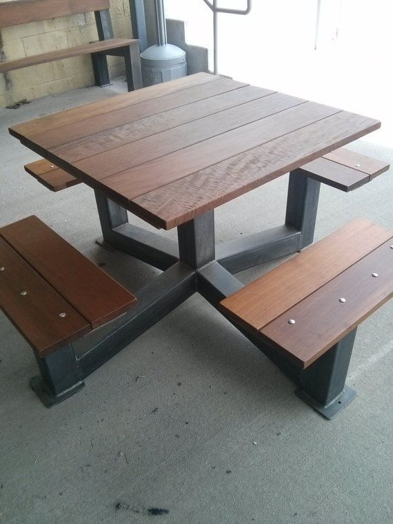 DINING TABLE  Outdoor Modern Industrial Style Picnic Table. Best 25  Metal picnic tables ideas only on Pinterest   Dinning