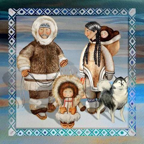 Originální malba akvarelovými barvami přenesena na hedvábí, tak vznikl šál: ESQUIMALES. Rozměr 90 x 90 cm. Dodáno v luxusní dárkové krabičce. 4.590 Kč #christmas #gift #present #vanoce #tip #scarf #style