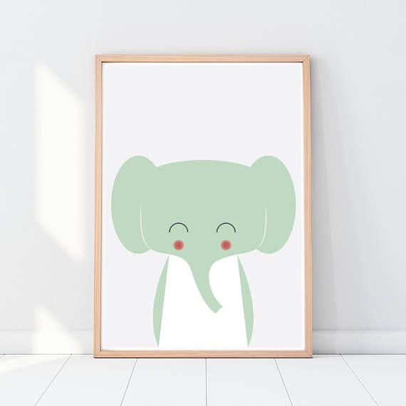Elephant Animal art print Nursery animals Animal nursery
