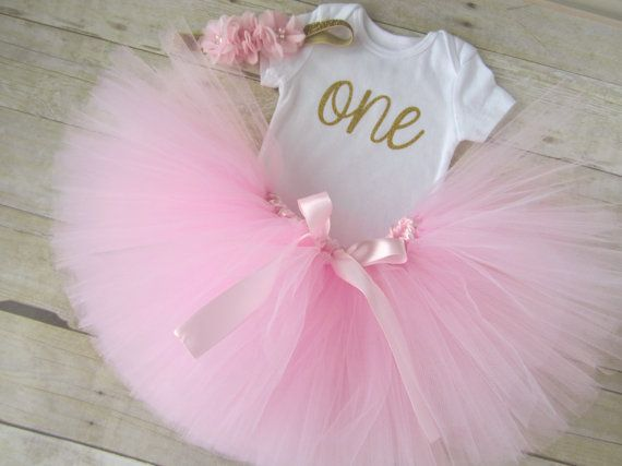 Pink and Gold Birthday Girl Outfit...First by SweetChubbyCheeks