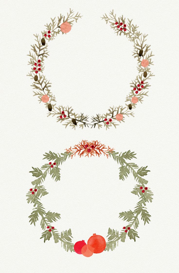 Watercolor Christmas Wreath by Webvilla on @creativemarket