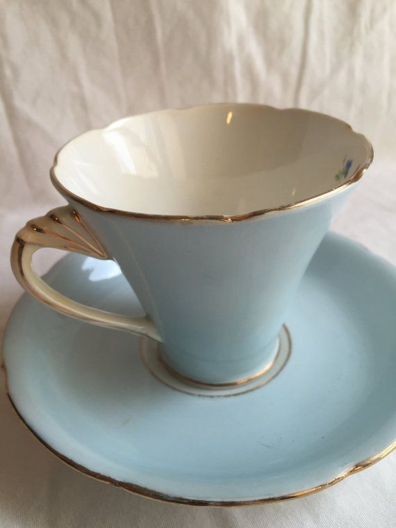 Vintage Grafton Bone China Teacup and Saucer Set Pale Blue with Flowers Bone China Made in England