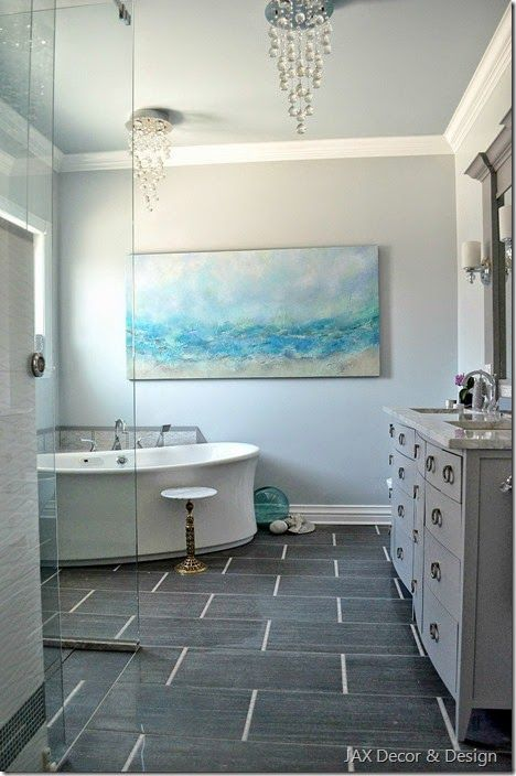 Coastal Bathroom Tile Ideas Part - 45: Coastal Bathroom Makeover I Like The Colors And The Tile Floor, Bathtub.