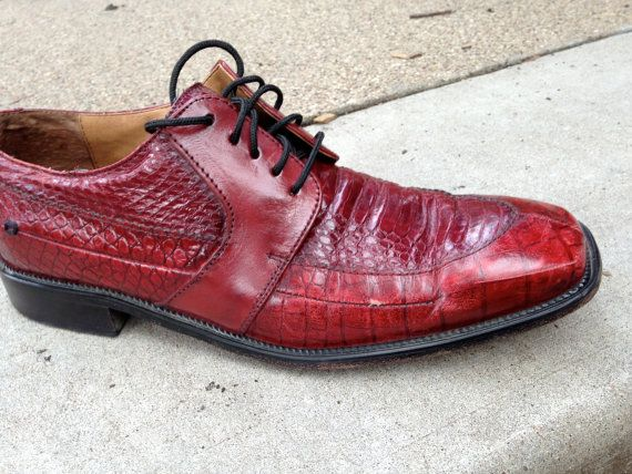 Mens Shoes// Vintage1990s//Snakeskin//Red//Tracy by ShiznitVintage