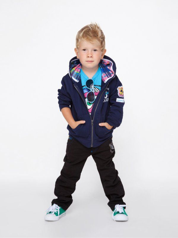 Granatowa bluza dla chłopca, z kapturem w kratkę. Ubrania dla dzieci Happy Kids