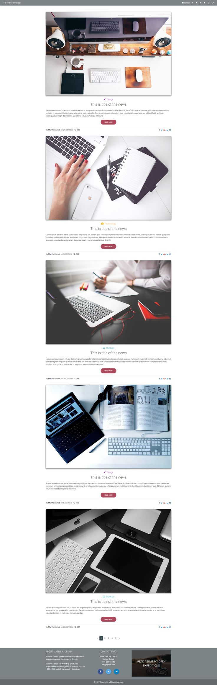 Material Design Blog Homepage Template, based on Bootstrap.