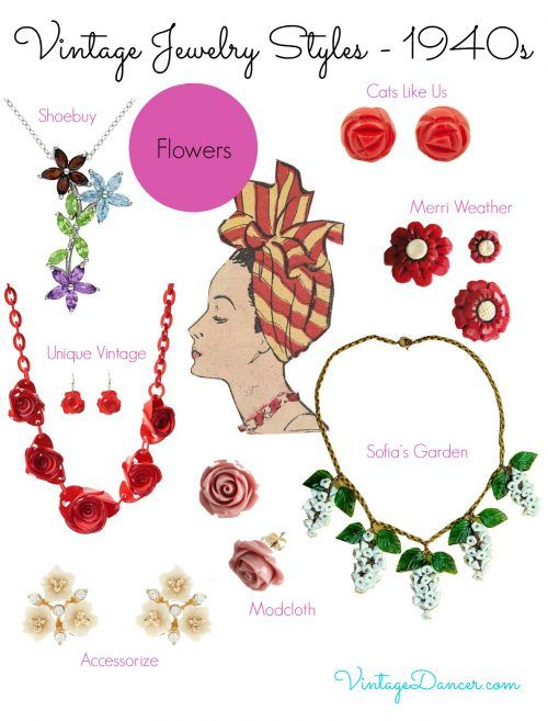 1940s jewelry trends: Flowers. Accessorize your 1940s inspired outfit with these floral jewelry pieces at VintageDancer.com/1940s