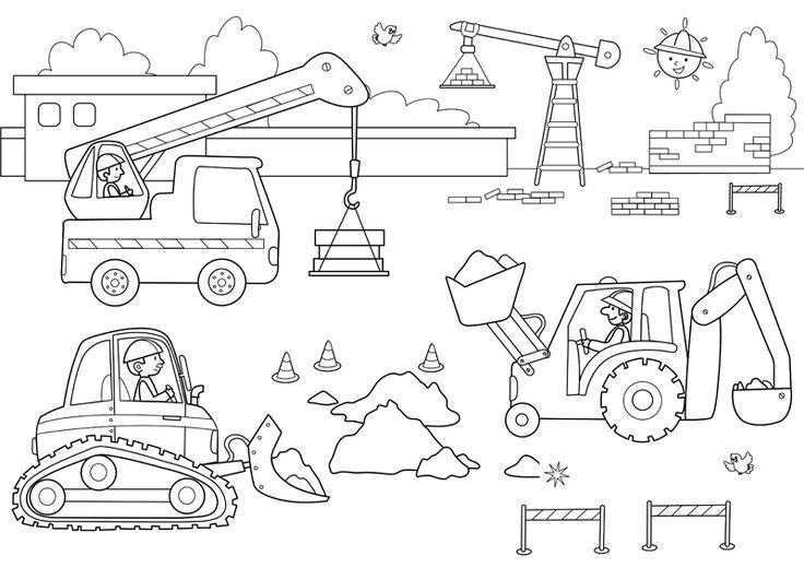 Baustellenfahrzeuge ausmalbilder  Die besten 25+ Baufahrzeuge Ideen auf Pinterest | Ausmalbilder ...