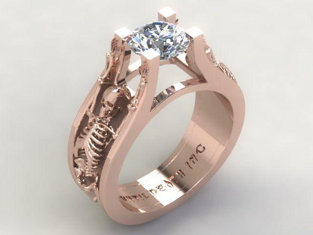 Skull Engagement Ring- The Original Secret Skull Rings Solid 14 Kt Rose Gold with White Diamond Center-UDINC0333 All things sculls!!!