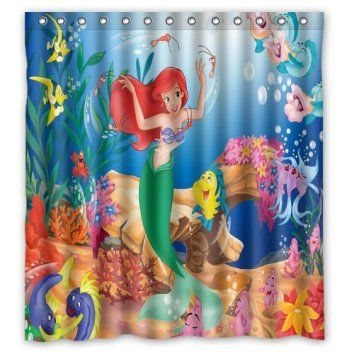 Personalized Custom Fashion Cartoon Little Mermaid Shower If You Have A Toddler Or A Little Girl Little Mermaid Bathroommermaid Bathroom Decorthe