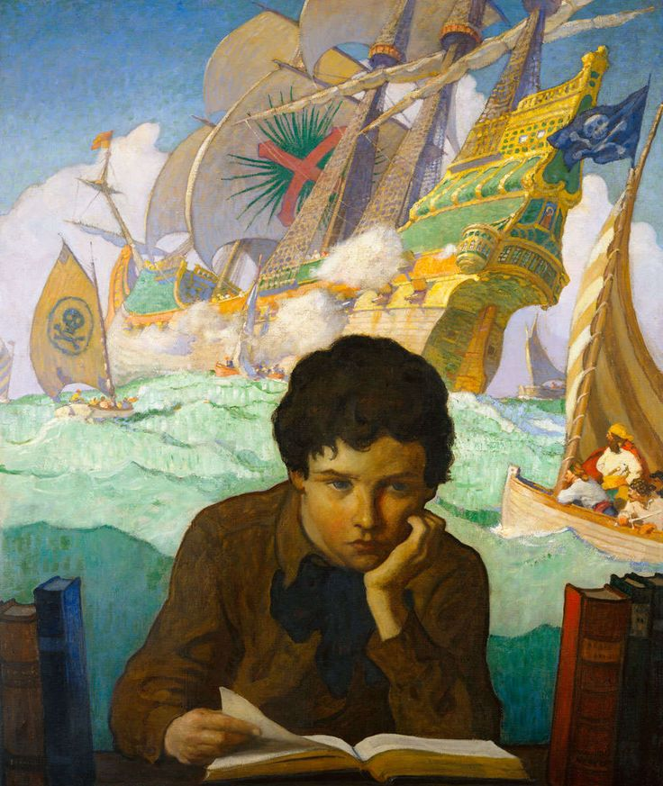 Illustration - The Lucas Museum of Narrative Art N.C. Wyeth (1882-1945) The Storybook c.1921 oil on canvas, 38 x 31.5