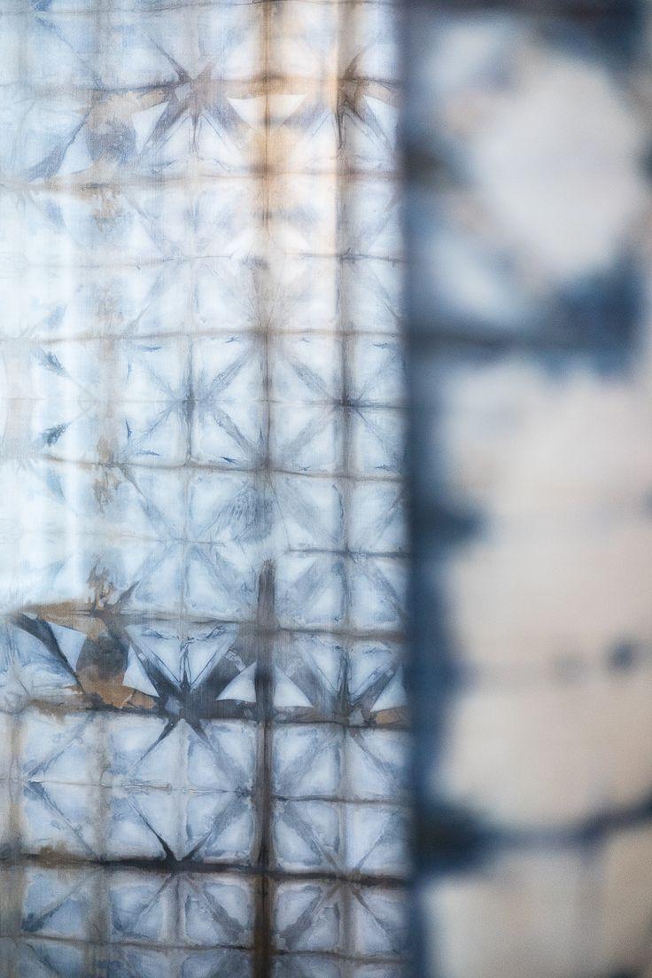 """Androidy"", silk died in logwood, techique: shibori and own by Katarzyna Schmidt-Przewoźna"