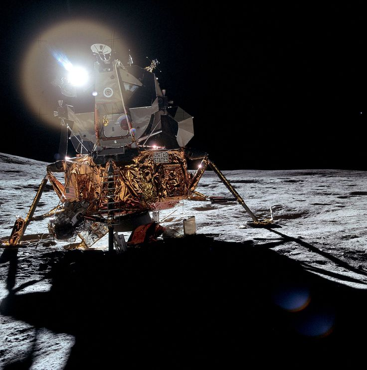NASA Apollo 14 Lunar Module parked on the Moon surface which delivered Dr. Edgar Mitchell and Alan Shepard to...