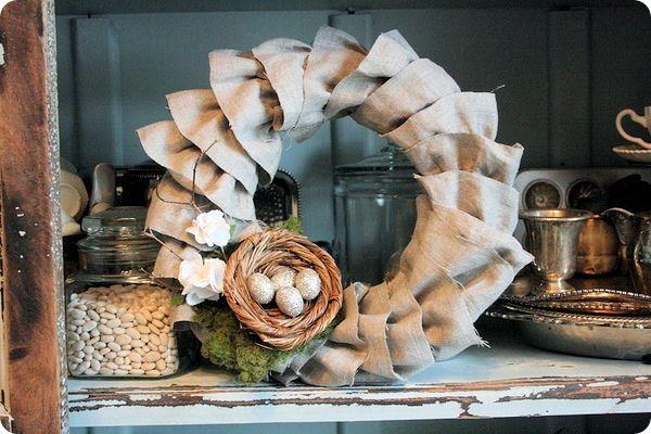 Spring wreath - burlap ruffle with birds nest