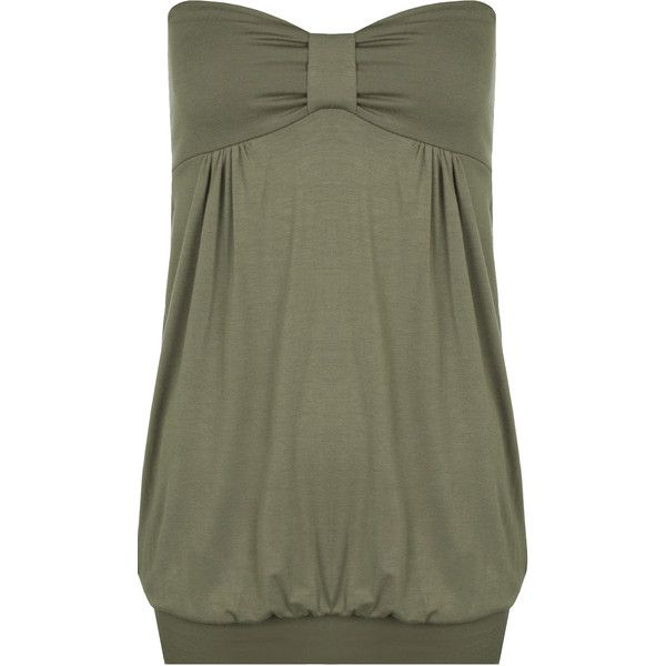 Rebekah Plain Bandeau Top ($19) ❤ liked on Polyvore featuring plus size women's fashion, plus size clothing, plus size tops, khaki, long tops, ruched tube top, bandeau top, plus size tube tops and green tube top