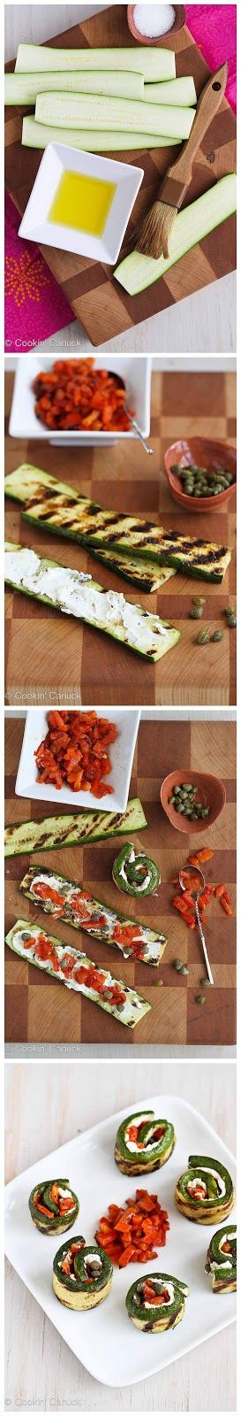 Grilled Zucchini Roll Recipe with Goat Cheese, Roasted Peppers & Capers