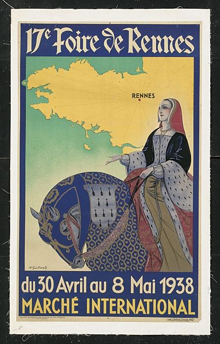 Vintage Poster  - La Foire de Rennes - André Galland: 1938  Rennes : Ille et Villaine, Bretagne, France.