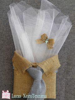 Μπομπονιέρα βάφτισης με λινατσένιο πουκαμισάκι και σιελ λινατσένια γραβάτα  Χειροτεχνημα - Handmade