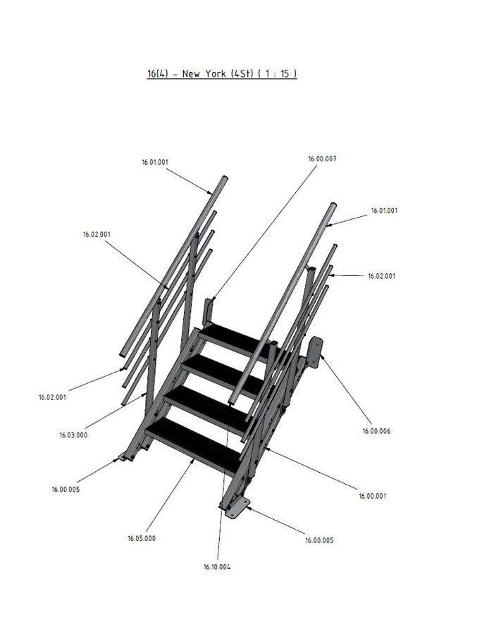 Au entreppe new york 4 stufen einzelteilzeichnung Fachwerktrager stahl detail
