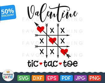 Tic Tac Toe Svg Valentine Design Hearts & Arrows cut File for T-shirt Vinyl Decal Cutting Clip art for Cricut Silhouette Iron on Transfers