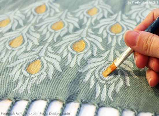 Painting Details on Stenciled Scarf | Project by Pretty Handy Girl | Peacock Fancy Stencil from Royal Design Studio