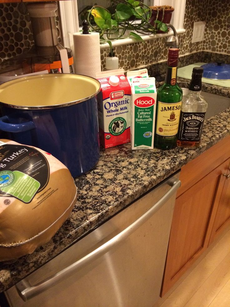 Turkey Brine: Equal parts Buttermilk and whole milk with 1/4c of whiskey. Soak defrosted turkey for 24 hours and then drain, rinse and place of baking sheet with a rack and refrigerate over night uncovered.