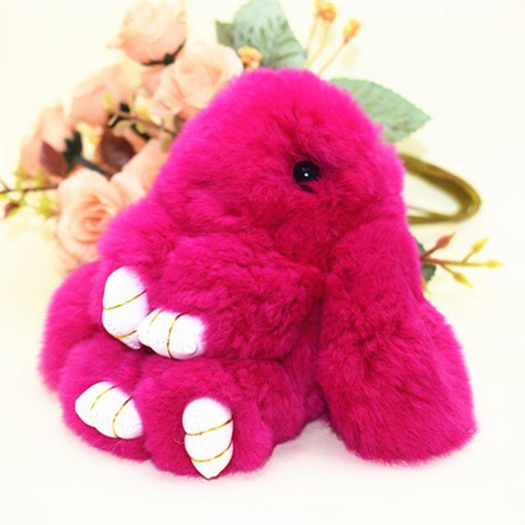 trinket Mini Rabbit Fur Pom Pom KeyChains Women fluffy Bunny Rabbit Toy Doll Bag Car Key Ring Monster Keychain Jewelry Gift
