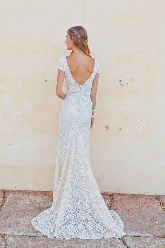Stretch lace bohemian wedding dress lace gown with train for Stretch lace wedding dress